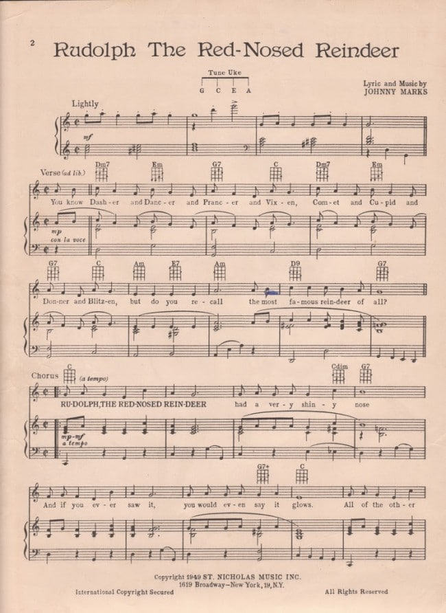 graphic regarding Free Printable Vintage Christmas Sheet Music referred to as Printable Rudolph Xmas Sheet Songs - Residence of Hawthornes