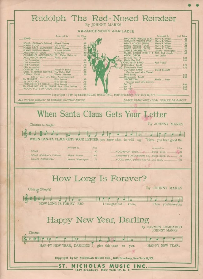 picture regarding Vintage Sheet Music Printable titled Printable Rudolph Xmas Sheet Tunes - Dwelling of Hawthornes