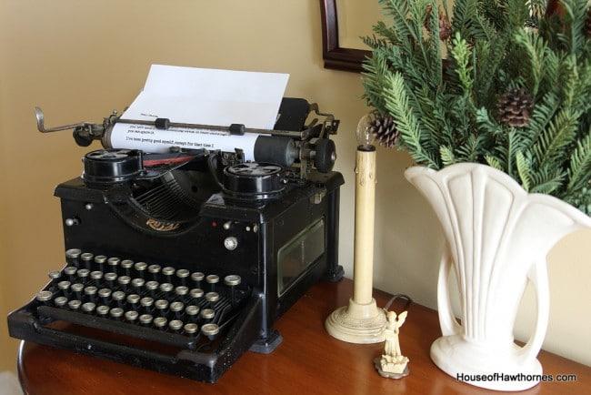 Royal typewriter used in a vintage Christmas display