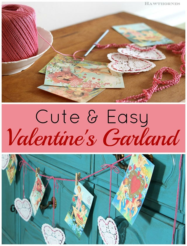 Easy to make romantic handmade Valentines Day garland for your Valentine's Day decor. Using inexpensive paper heart doilies from the dollar store and vintage Valentine images. #valentinesday #valentinecraft #romantic #romanticcountry #diyproject #craft