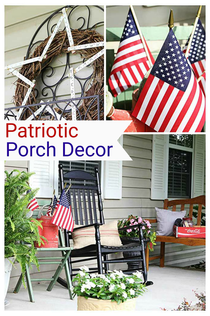 Patriotic porch decor for the 4th of July or Memorial Day. Lots of inspiration for your outdoor summer decorating. #4thofjuly #patriotic #fourthofjuly #memorialday #redwhiteandblue
