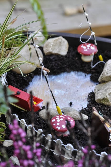 How to make fairy garden decor including a toadstool and pond from Crafts Unleashed