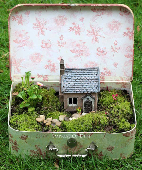How to make a fairy garden out of a suitcase