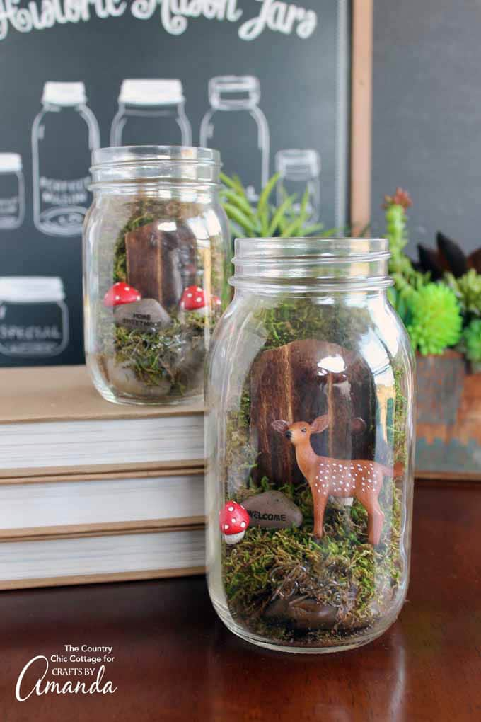 Fairy garden mason jar with deer