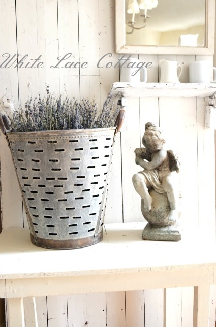 Olive bucket from White Lace Cottage