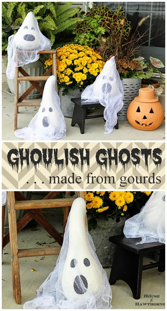 Tutorial for making these fun Halloween ghosts made from gourds. Super quick and easy to make for your fall home decor.
