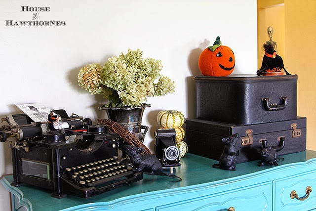 Dollar store rats running amok in a fun vintage Halloween vignette