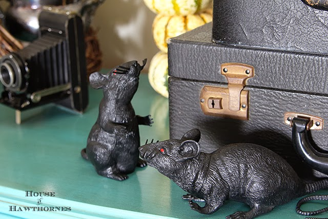 Dollar store rats running amok in a fun vintage Halloween vignette