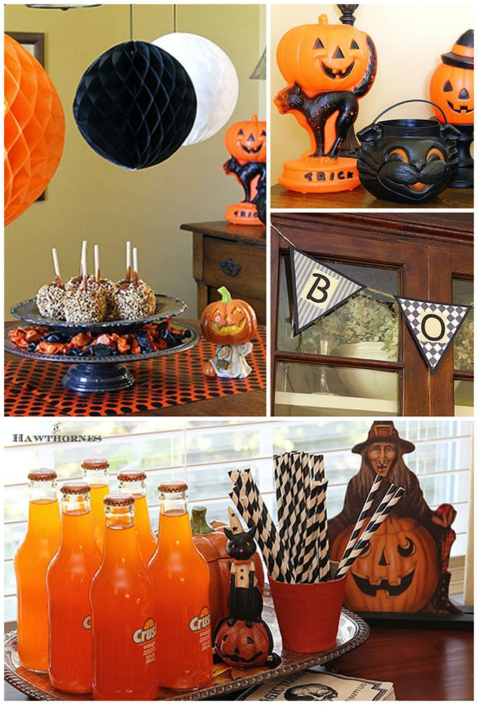 Vintage Halloween party decorations to give you ideas and inspiration for your own fall get together or to decorate your home for the season.
