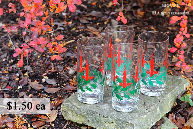 Vintage Christmas drinking glasses with holly and candle design