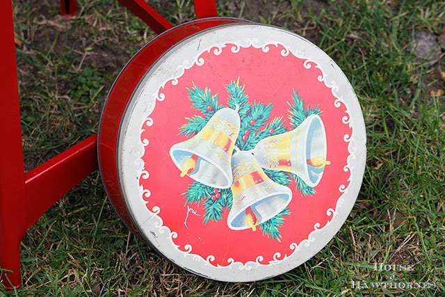 Christmas cookie tin with vintage bells and greenery on front.  Very 1950's.