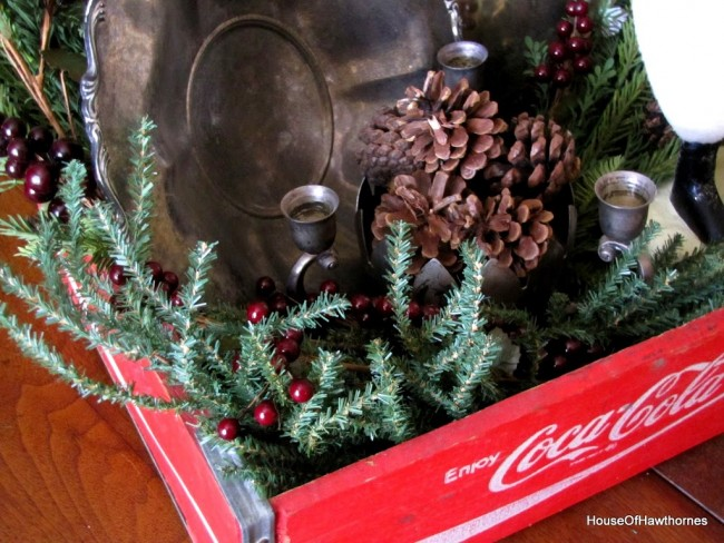 Vintage Coca-Cola crate used in holiday decor