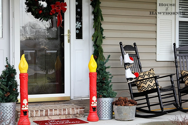 Kitschy Christmas blow mold candles for the front porch