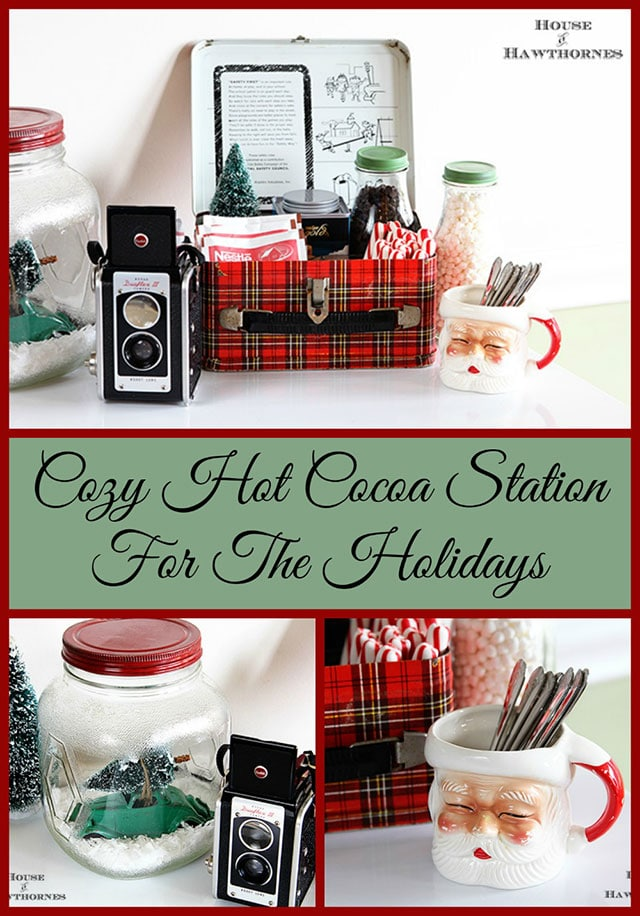 Vintage styled hot cocoa station - LOTS of unique ideas and inspiration for using plaid Christmas decor in your home for the holidays, including both buffalo check and traditional plaids.