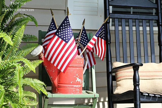 Summer front porch with patriotic decor