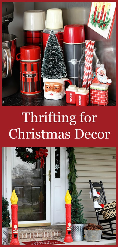 You'd be amazed at what you can find at thrift stores and antique malls for Christmas decor. Save a few bucks . . . upcycle . . . decorate in style. #thrift #thrifting #VintageChristmas #ChristmasDecor #ChristmasDecorations #retrochristmas #retro #vintage