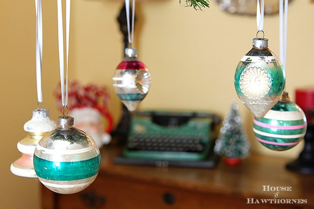 How to decorate with fun vintage Christmas decor this year including Shiny Brites, blow molds and other classic retro holiday decor.  Cute ideas!