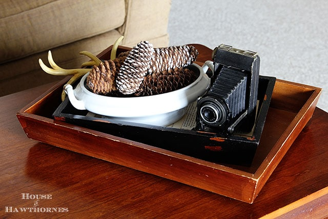 Pinecones in a vintage ironstone tureen as a coffee table vignette