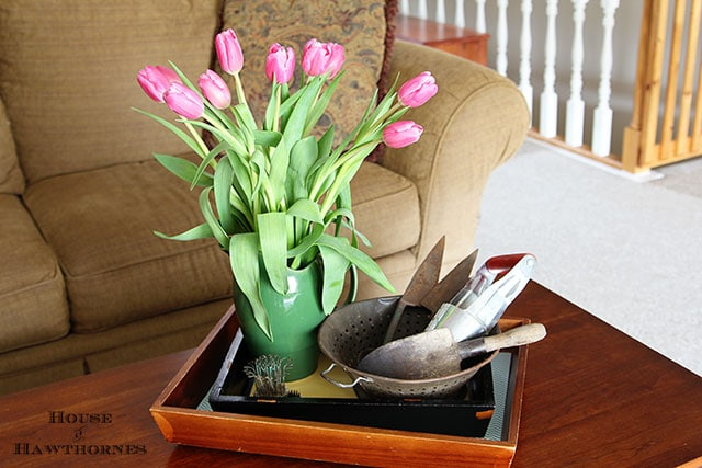 Fun spring coffee table vignette