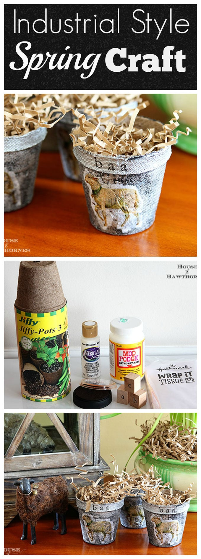 Make cute little DIY mini Easter baskets with an industrial style using peat pots from the garden. Super easy and quick to make.