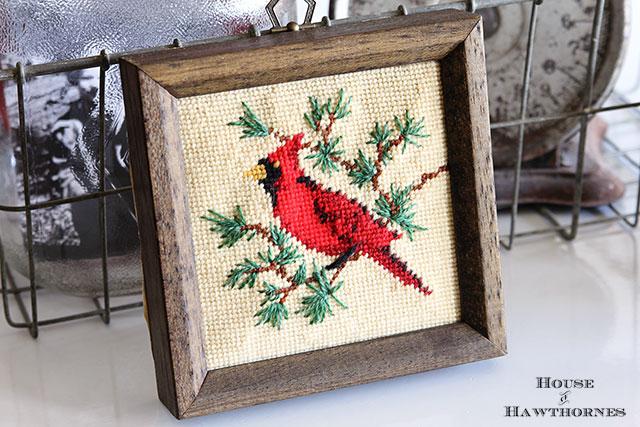 Framed needlepoint cardinal