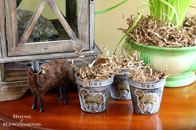 Spring peat pots made with a faux zinc finish and lamb design