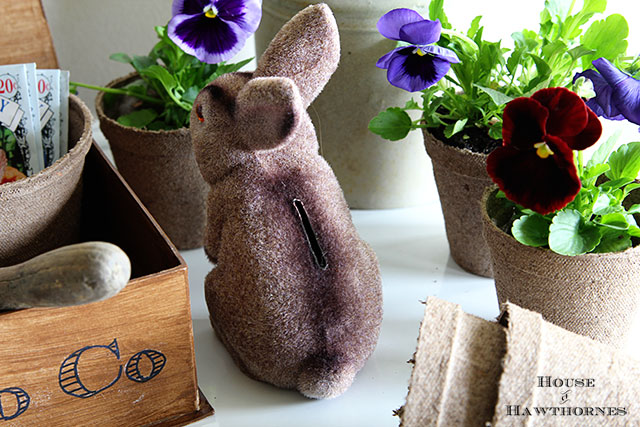 Vintage fuzzy Easter bunny bank