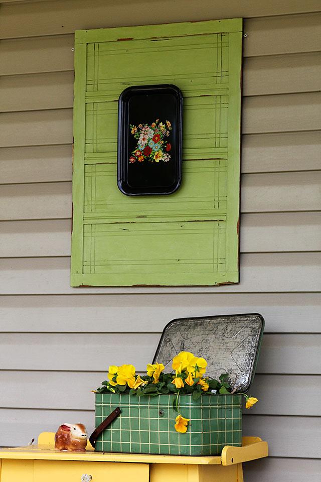 Vintage spring front porch decor