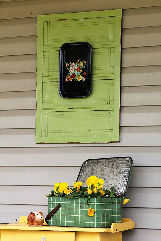 vintage green cabinet door