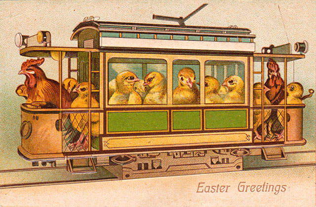Easter chicks on a trolley - vintage Easter postcard image