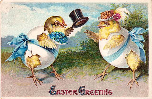 Easter chicks dressed up on Easter morning - vintage Easter postcard