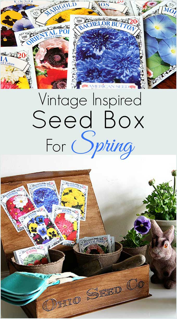 DIY tutorial for making a vintage inspired seed box for spring home decor!