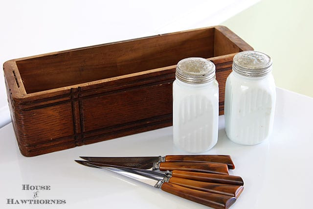 Burns serrated knives and milk glass salt and pepper shakers