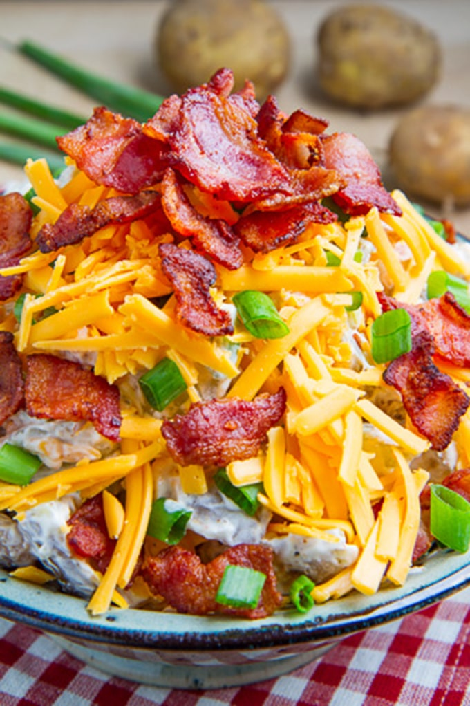 Potato salad with bacon and cheddar