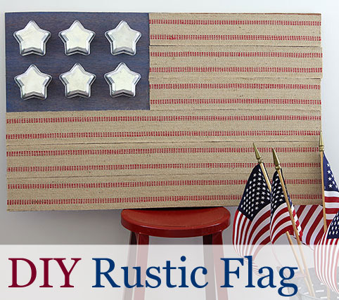 DIY Rustic Flag Made With Tin Star Jello Molds And Jute Upholstery Webbing