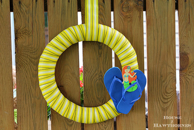 Wreath made from vintage lawn chair webbing