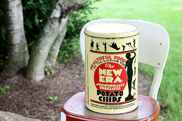 Vintage New Era Potato Chip can with strange marketing ideas - early Frito-Lay product