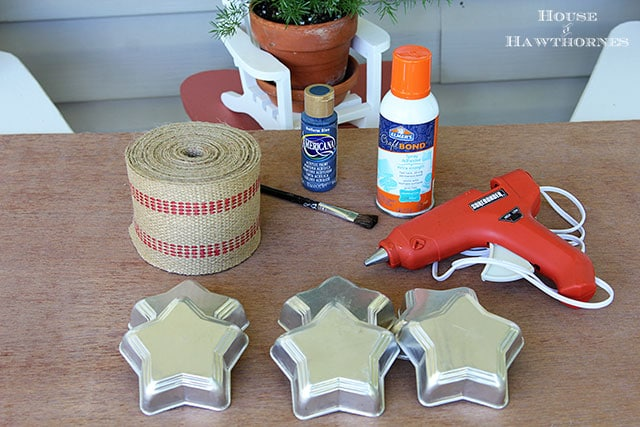 Supplies For Making DIY Rustic Flag Made With Tin Jello Molds And Jute Upholstery Webbing