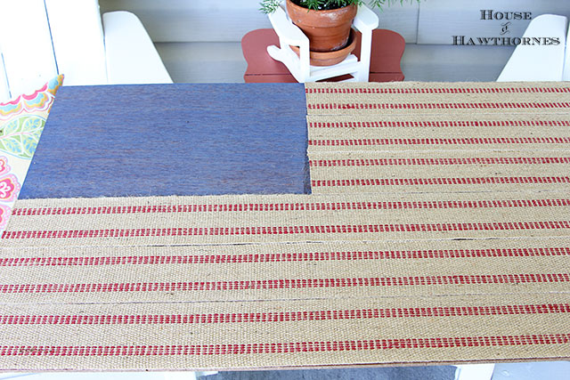 Jute Upholstery Webbing Used To Make A Rustic Flag