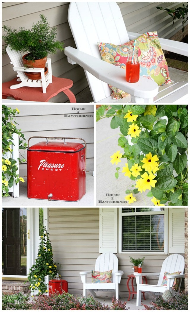 Fun and colorful summer porch decor with a vintage twist. Adirondack chairs, vintage coolers and a gorgeous black-eyed Susan vine are the highlights.