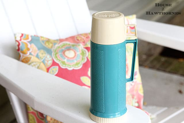 Vintage turquoise Thermos brand vacuum bottle