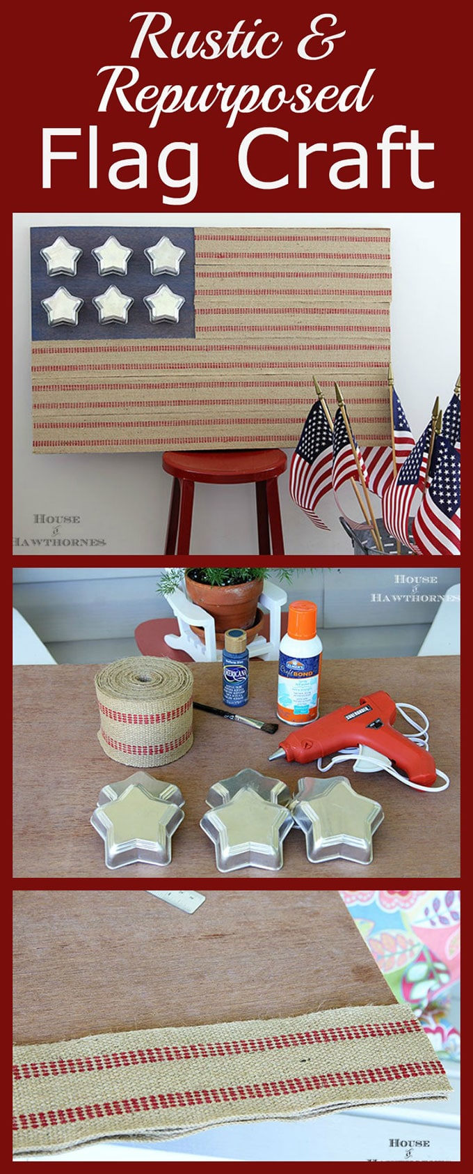 Quick and Easy DIY rustic flag craft made with repurposed items from around the house. A cute rustic farmhouse flag.