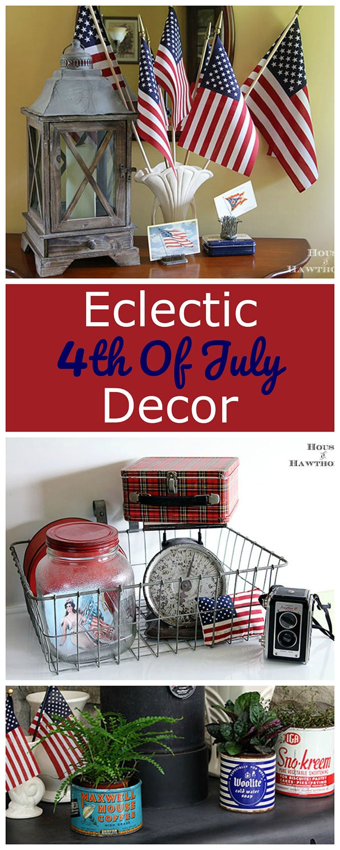 An eclectic 4th of July home tour with lots of vintage patriotic home decor.