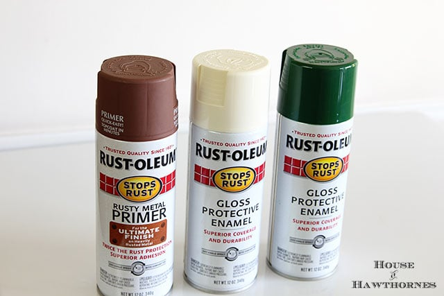 Rustoleum spray paint used to paint a vintage metal motel chair