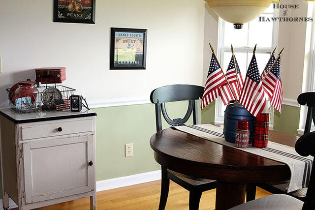 Patriotic home tour at House Of Hawthornes - kitchen dining area