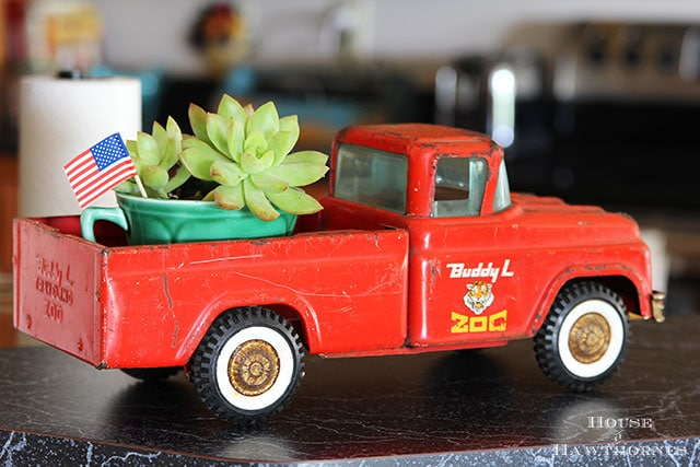 Patriotic home tour at House Of Hawthornes - vintage Buddy L zoo truck