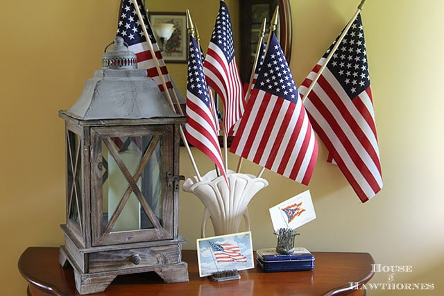 Patriotic home tour at House Of Hawthornes - flags in a vintage vase