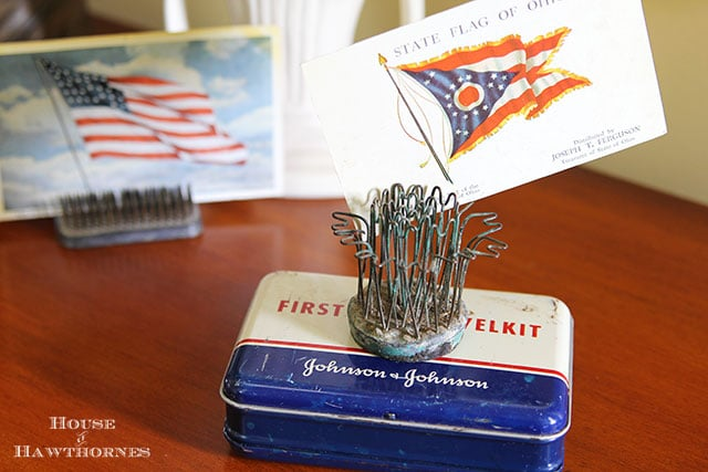 Patriotic home tour at House Of Hawthornes - red, white and blue first aid kit