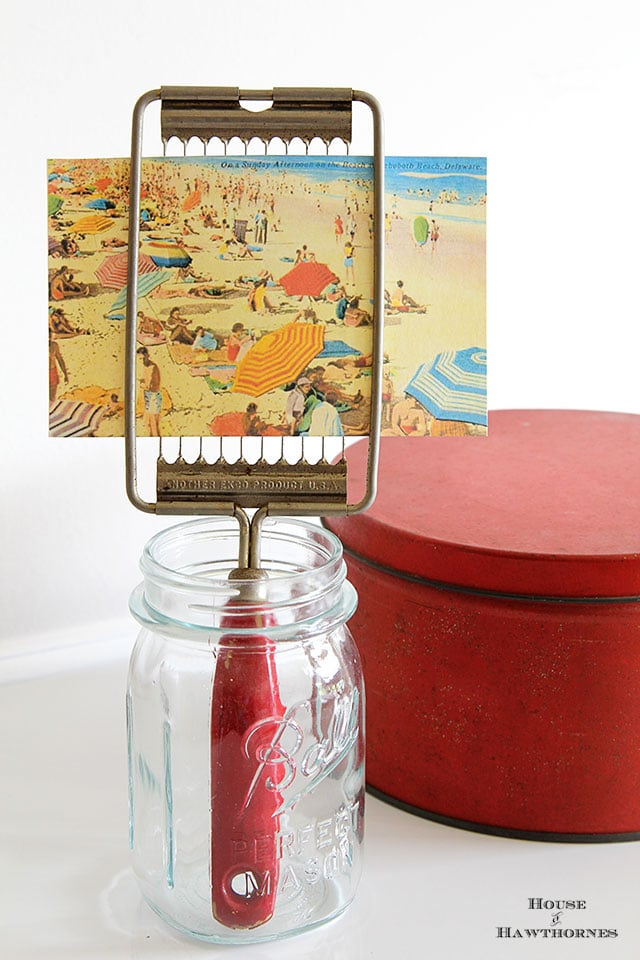 Vintage Ekko tomato slicer repurposed into postcard or photo holder
