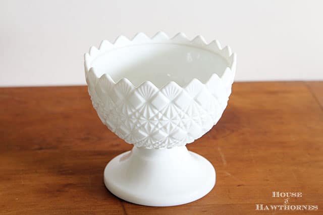 Vintage white milk glass bowl along with other vintage yard sale finds at houseofhawthornes.com